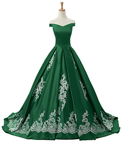 Sunvary A-line decorazioni in pizzo con scollo A V, per abiti da sera Homecoming Gowns Dark Green