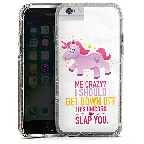 Apple iPhone 6s Bumper Hülle Bumper Case Glitzer Hülle Einhorn Unicorn Mädchen Geschenk Bumper Case Glitzer gold
