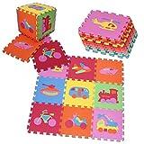 PRINZBERT Fahrzeuge Puzzlematte 9 Matten 64-tlg Puzzleteppich kreativ Kinder Spielmatte Spielteppich Schaumstoffmatte rutschfest Lernteppich schadstofffrei Spielfläche Lerneffekt ABC Puzzle Moosgummi