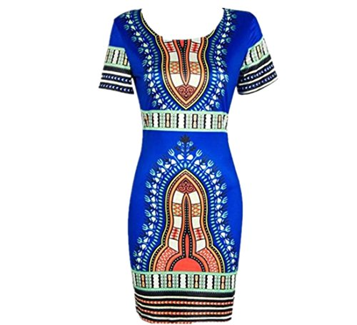 LONUPAZZ Bodycon Robe Manches Courtes Ete Femme Traditional Robe Dashiki Africaine (S, Bleu)