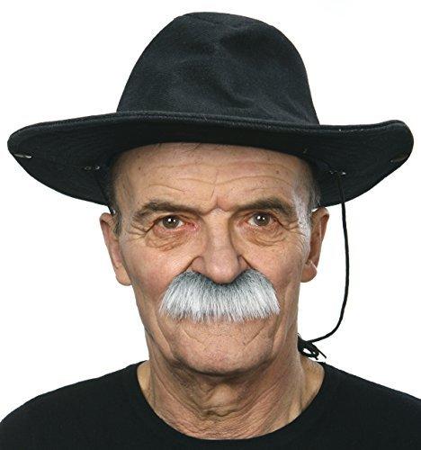 (Mustaches Selbstklebende Fälscher Schnurrbart Neuheit Grundpa's Falsch Gesichtsbehaarung Kostümzubehör für Erwachsene Grau mit Weißer Farbe)