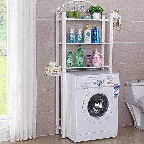 Badezimmer Regal Dusche Washroom Ecke Wäschekorb Rack bodenart Aufbewahrung, 3Schichten, 2Farben, 70* 165cm Handtuch steht Ringe (Farbe: Schwarz), weiß