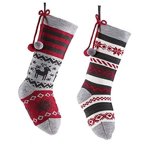 Valery Madelyn 46CM Decorazioni Natalizie Calze di Natale Set di 2 Stivali di Natale Calza di Babbo Natale Calza da riempire e Appendere Le Decorazioni di Natale Rosso Grigio