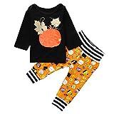 Riou Kinder Langarm Halloween Kostüm Top Set Baby Kleidung Set Kleinkind-Baby-Mädchen-Lange Hülsen-Kürbis-Druck-Oberseiten + Hosen Halloween-Ausstattungen (Schwarz, 90)