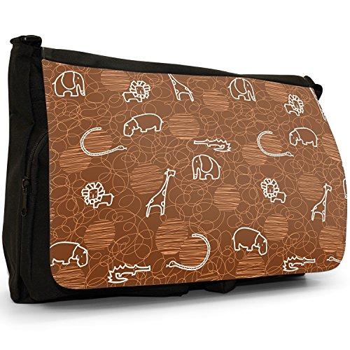 Giraffa, Leone, Elefante e Ippopotamo disegno grande borsa a tracolla Messenger Tela Nera, scuola/Borsa Per Laptop marrone