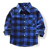OCHENTA Hemden Jungen Langarm Plaid Kariert Freizeithemd E005 Blau Schwarz Asiatisch 130cm-(DE 124cm)