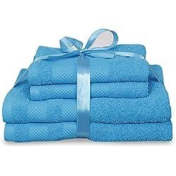 Juego de toallas de lujo 4piezas Baño y Mano 100% algodón toalla de baño, suave y cómodo