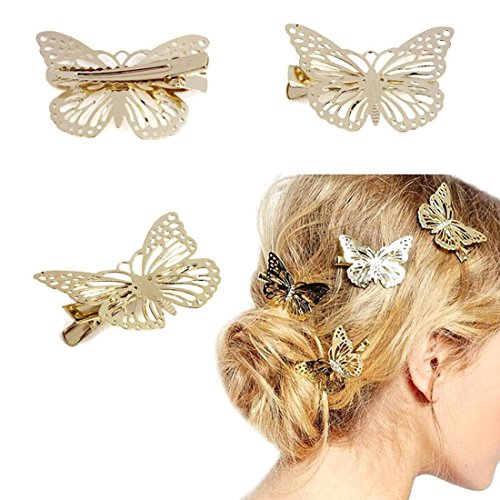 Golden malloom ® Butterfly Hair Accessories-Fascia per capelli, Donna, con Clip