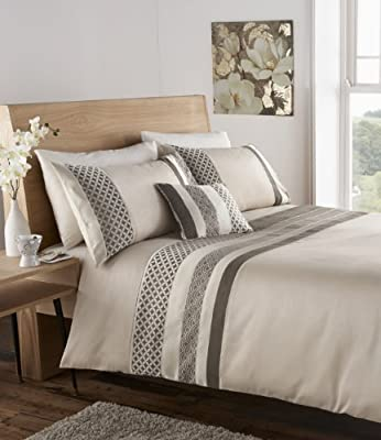 Luxury Newton Jacquard Bedding Faux Silk Duvet Quilt Cover set, Natural - Single Size produced by Dove Mill Bedding - quick delivery from UK.