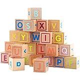TOYMYTOY Wooden Alphabet Letter Blocks Preschool Kindergarten Building Toy For Baby Infant Kids Child Toddler 26PCS