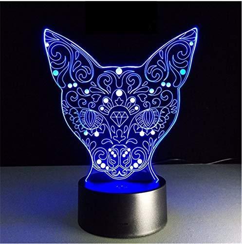 Kreative Nette Katze Led Nachtlicht Für Kind Baby Kinder Nachttischlampe Multi Farbe Acryl Touch Sensor Control Lampe - Licht Net Multi-grünes Kabel
