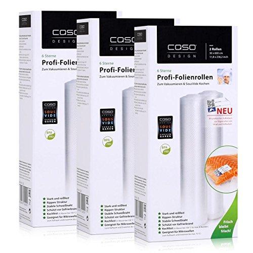 Caso Profi-Folienrollen 30x600cm / 2 Rollen für Vakuumierer Caso (3er Pack)