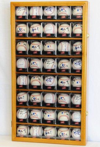 40Baseball Acryl Cubes Display Hülle Schrank Halterungen Rack w/UV-Schutz, Eiche -