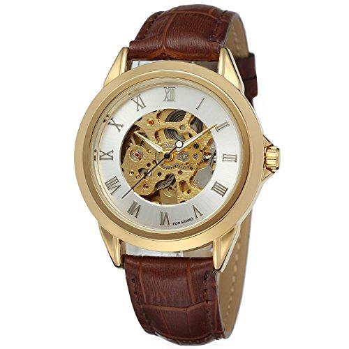 Forsining Mens Skeleton Automatic Mechanical Wristwatches FSG8095M3G5 (Crown Jewels Modeschmuck)