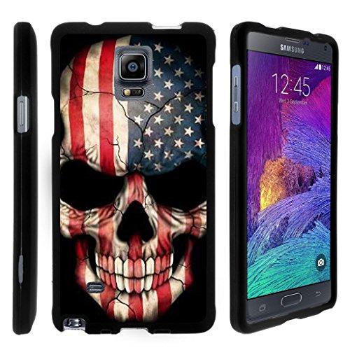 turtlearmor   Kompatibel für Samsung Galaxy Note 4Fall   N910[Slim Duo] Zwei Stück Hard Cover Slim Snap auf Fall auf Schwarz -, US Flag Skull (Handy-fällen 2 Note T-mobile)