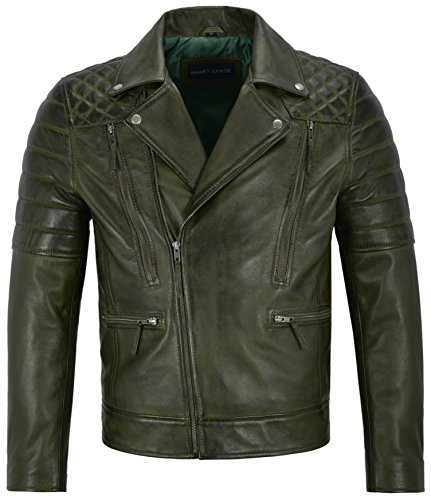 Matt Lauer Herren Echtlederjacke Olivgrün Slim Fit Biker Motorrad Style 3205 (2XL for Chest 46')