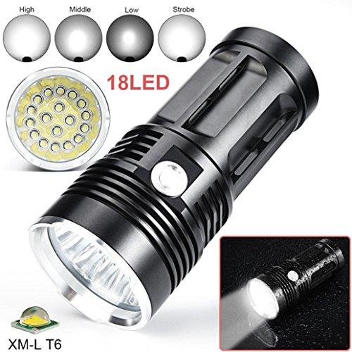 Lampe de poche LED 45000Lumen, fonte Power 18x LED super bright CREE XM-L T6LED étanche portable tactique Fackel, 4modis réglable, idéal pour nuit de course, camping, lecture, sport,