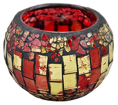 Windlicht / Teelicht Glas Mosaik rund - rot 9x6cm -