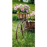 Textilbanner - Thema: Frühling / Sommer - Blütenkorb auf Fahrrad - 180cmx90cm - Banner zum Hängen & Dekorieren
