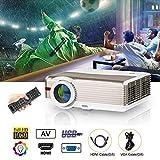 Beamer 5000 Lumen LED Projektor 1280 x 800 Auflsöung 6500:1 Kontrast HD unterstützt 1080p Videoprojektor Integrierte 10W Lautsprecher mit TV HDMI VGA AV USB für HD Filme Fußballspiel