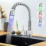 Aquamarin–küar02-Wasserhahn Küche mit Lichter bunt LED Lichterkette–Blau, Rot und Grün