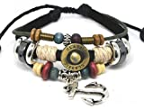 Jirong Einstellbare Paar Armreif von Leder-Seil und Farbe Holzperlen Anker Armband gemacht 32S