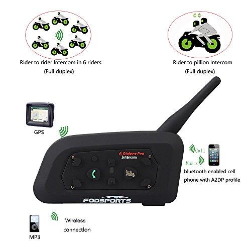 amiciKart® V6 Pro Motorcycle Helmet Bluetooth Intercom 6 Riders 1.2km Wireless Range