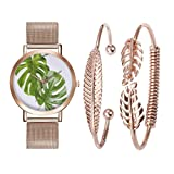 Souarts Damen Geschenkset Armbanduhr Quartzuhr Analog mit Batterie mit Armband Armreif Set Tropische Blätter Rosegold