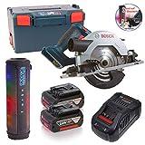 Sound auf der Baustelle mit Bosch Akku-Kreissäge GKS 18V-57 G, mit 2 x 5,0 Ah Li-Ion Akku, Ladegerät in der L-BOXX 136 + R4mpage RP-1100 Bluetooth Lautsprecher 10W, Akkuspannung:18V