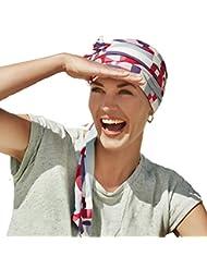 Pañuelo reversible beige liso/estampado Años 80 en bambú ultra suave para mujeres en quimioterapia