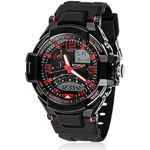 Amlaiworld Orologio da polso per Donne,Impermeabile Multi-funzione orologio sportivo militare al quarzo LED digitale (rosa)