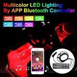 Addmotor 4pcs RGB LED Car Interior Underdash Lighting Kit, Music Sync App Bluetooth Control Car Light Strips Atmosphere Neon Lights Strip for Jeep SUV Trucks Dodge Ford Harley