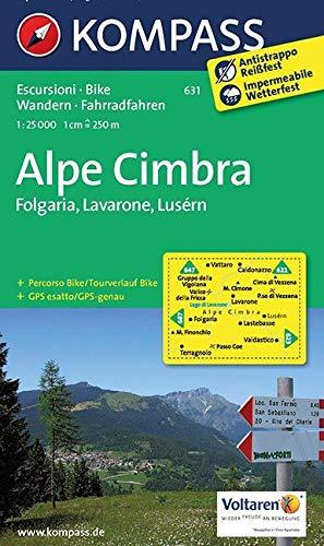 Carta escursionistica n. 631. Alpe Cimbra. Folgaria, Lavarone, Lusérn 1:25.000: Wandelkaart 1:25 000