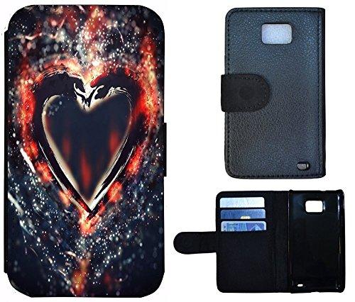 Flip Cover Schutz Hülle Handy Tasche Etui Case für (Apple iPhone 4 / 4s, 1131 Schmetterling Schwarz Türkis Weiß) 1128 Herz Düster Abstract