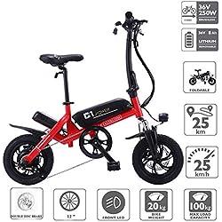 Altruism Bicicleta eléctrica Plegable de 250 W, 36 V, con Motor y Frenos de Disco, C1, Rojo