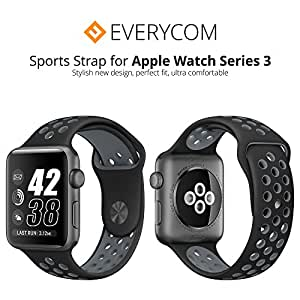 Everycom Apple Watch Series 1/2/3 Replacement Sports Band Strap with  Inbuilt Pin and Tuck Clasp