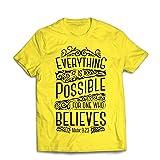lepni.me Männer T-Shirt Jesus Christus: Alles ist Möglich für Den, der glaubt - Christliche Religion, Glaube, Bibel - Ostern - Auferstehung (Large Gelb Mehrfarben)