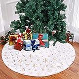 Upgrow Weihnachtsbaumdecke Weihnachtsbaum Rock Plüsche Weiche Weihnachtsbaum Decke Christbaumständer Teppich, Weihnachtsdeko für Weihnachtsfeiertag (Gold-122cm)