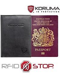 Titulaire bloquant les signaux RFID biométrique passeport Protéges Étui (Noir)