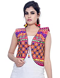 Banjara India Women's Poly Cotton Embroidered Kutchi Short Jacket/Koti (SJK-BLT06_Pink_Free Size)