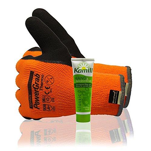 TOWA PowerGrab Thermo Winterhandschuh Arbeitshandschuh Größe L Doppelpack mit Zubehör Handcreme 30ml
