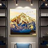 HULINJI Gemälde Ölgemälde auf Leinwand Kunstposter und Drucke Wandkunst Gemälde Abstrakte Goldene Bergbilder für Wohnzimmer Dekor