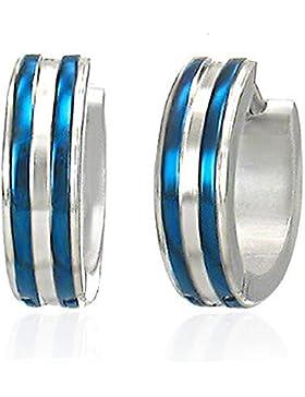 bkwear 1 Paar Creolen CR 22 bk3 Edelstahl Silber Streifen Blau Ohrringe 14 / 4 mm