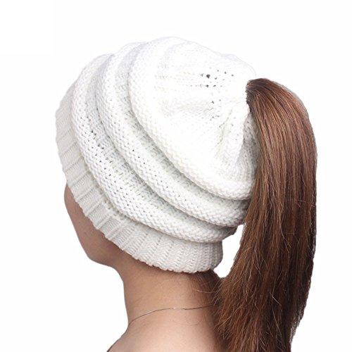 YWLINK Winter Damen Einfarbig Einfach Stricken MüTze Turban Kopf Wickeln Kappe Pfahlkappe Lange Haare Hut(Freie Größe,Weiß)