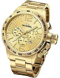 TW Steel Canteen Unisex reloj infantil de cuarzo con esfera cronográfica y plateado Rosa correa Color Dorado CB103