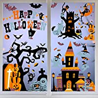 VEYLIN 150 Static Halloween Window Clings Bat Ghost Stickers for Halloween Window Display - Static PVC Stickers (10 Sheets)