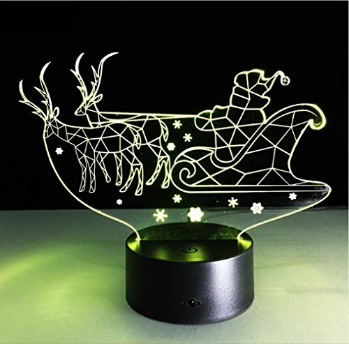zwylove Schlitten 3D Visuelle Led Nachtlicht für Kinder Touch Usb Tisch Baby Schlafen Nachtlicht Wohnkultur Licht 7 Farben Lampe -