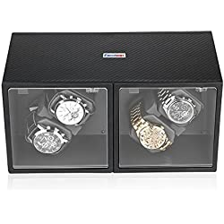 Excelvan Automatic Watch Winder Box Wood Finish Rotation 4+0 Storage Display Case Carbon Fiber Box Black