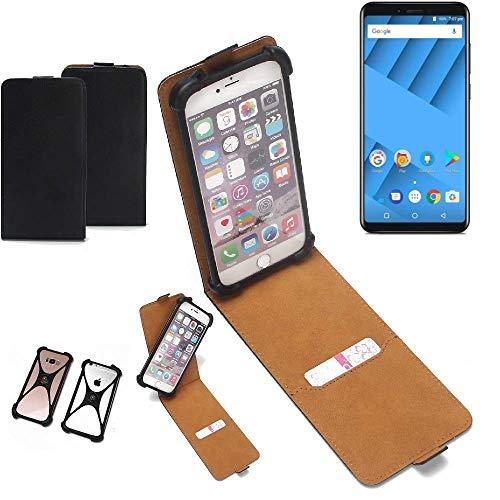 K-S-Trade Flipstyle Hülle für Vernee M6 Handyhülle Schutzhülle Tasche Handytasche Case Schutz Hülle + integrierter Bumper Kameraschutz, schwarz (1x)