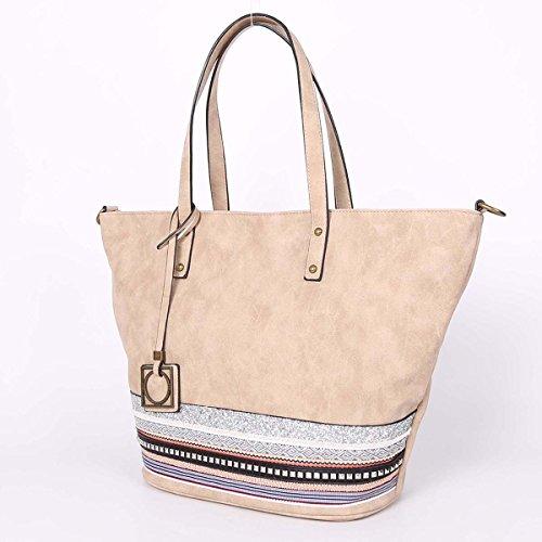 21K Borsa a tracolla di cuoio delle borse della spalla delle donne ed imbottitura del merletto KP161588 beige
